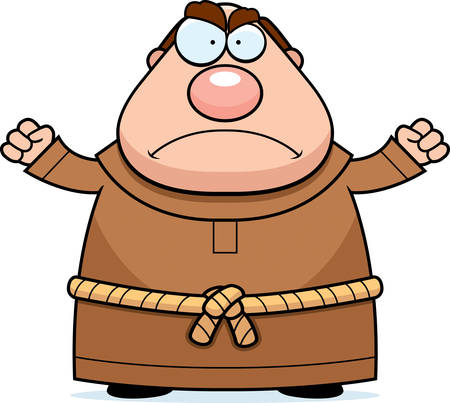 clergy: A cartoon illustration of a monk with an angry expression.