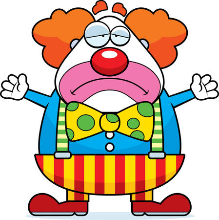 A cartoon illustration of a clown with a sad expression.