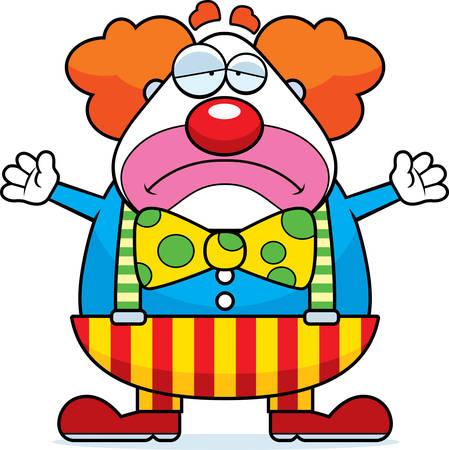 birthday clown: A cartoon illustration of a clown with a sad expression.