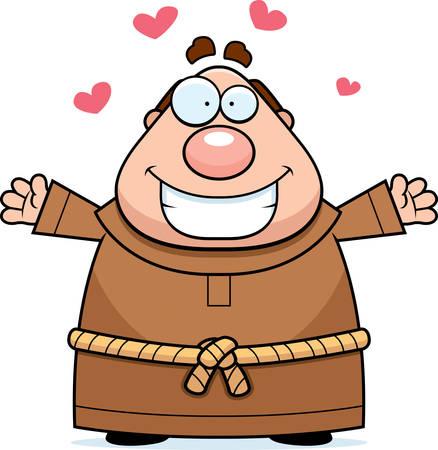 clergy: Una ilustraci�n de dibujos animados de un monje dispuesto a dar un abrazo.