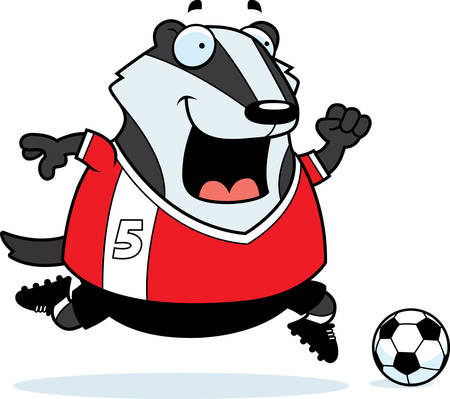 A cartoon illustration of a badger playing soccer. Ilustracja