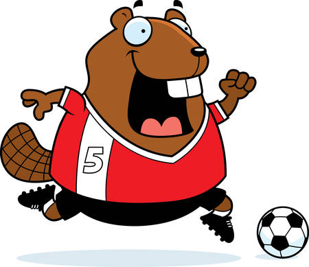 playing soccer: A cartoon illustration of a beaver playing soccer. Illustration