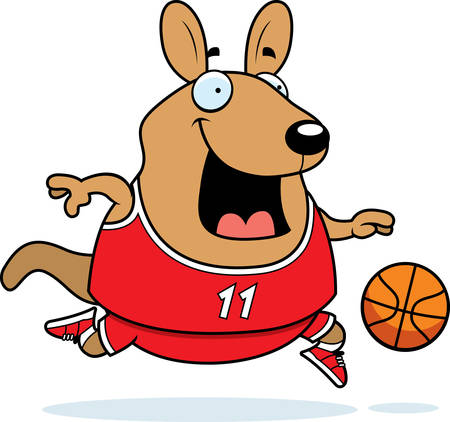 basketball game: A cartoon illustration of a wallaby playing basketball. Illustration