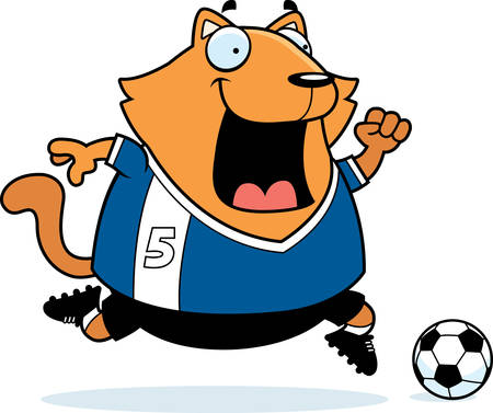 playing soccer: A cartoon illustration of a cat playing soccer. Illustration