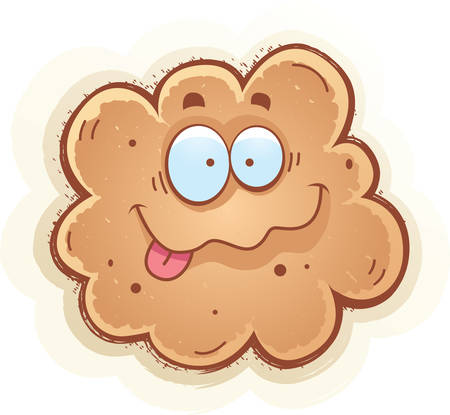 A cartoon illustration of a fart smiling.