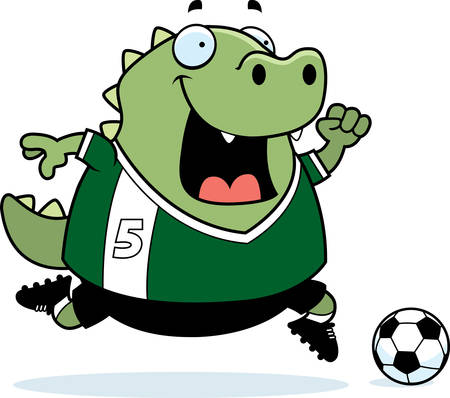 football cleats: A cartoon illustration of a lizard playing soccer. Illustration