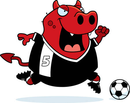 A cartoon illustration of a devil playing soccer.