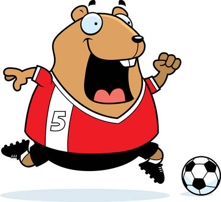 A cartoon illustration of a hamster playing soccer.