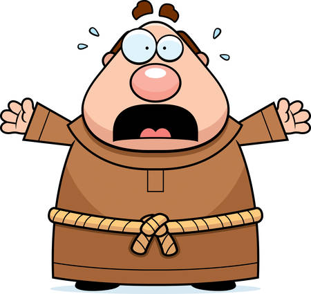 clergy: A cartoon illustration of a monk scared and panicking.