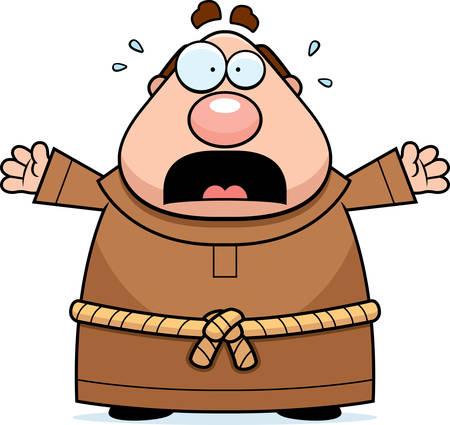 clergy: Una ilustraci�n de dibujos animados de un monje miedo y p�nico.