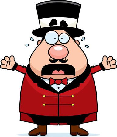 ringmaster: A cartoon illustration of a circus ringmaster panicking.