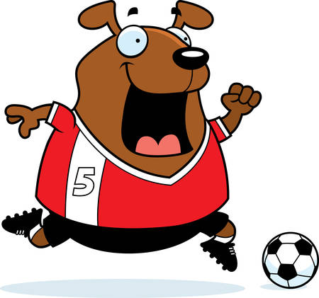 playing soccer: A cartoon illustration of a dog playing soccer. Illustration