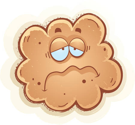 fart: A cartoon illustration of a fart with a sad expression.
