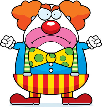 silly: A cartoon illustration of a clown with an angry expression. Illustration