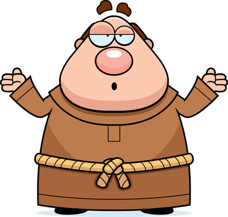 friar: A cartoon illustration of a monk with a confused expression. Illustration