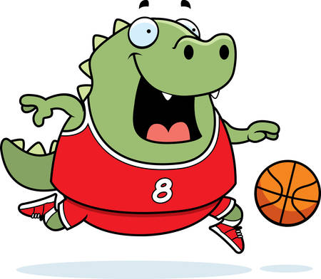 A cartoon illustration of a lizard playing basketball. 일러스트