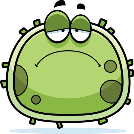 A cartoon illustration of a germ looking sad.