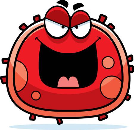 赤血球を見ている悪の漫画イラスト。