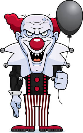 A cartoon illustration of an evil looking clown with a balloon.