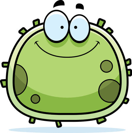 A cartoon illustration of a germ smiling.