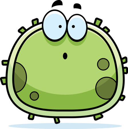 A cartoon illustration of a germ looking surprised. Çizim