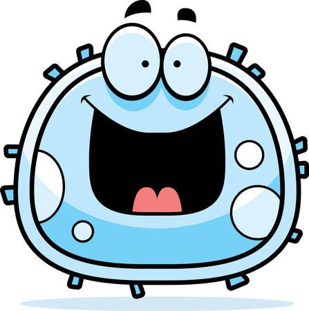 幸せそうに見えて白血球の漫画イラスト。