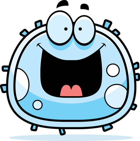 A cartoon illustration of a white blood cell looking happy.