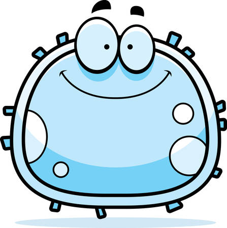 A cartoon illustration of a white blood cell smiling.