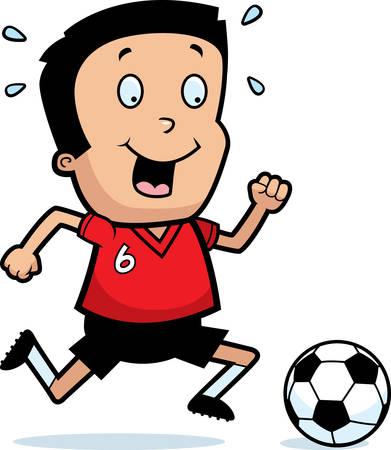 hispanic boys: A cartoon illustration of a boy playing soccer. Illustration