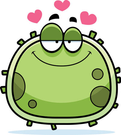 A cartoon illustration of a germ in love. 向量圖像