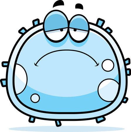A cartoon illustration of a white blood cell looking sad.