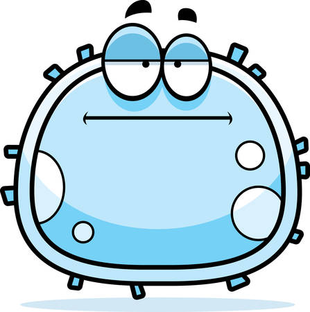 A cartoon illustration of a white blood cell looking bored.