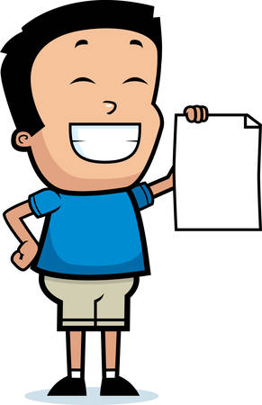 A cartoon illustration of a boy looking proud. Ilustração