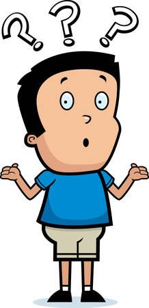 A cartoon illustration of a boy shrugging.