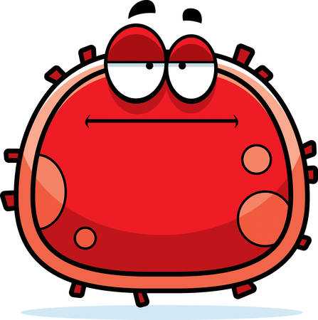 mild: A cartoon illustration of a red blood cell looking bored.