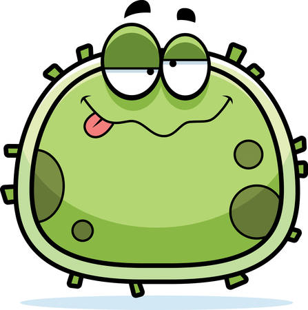 intoxicated: A cartoon illustration of a germ looking drunk. Illustration