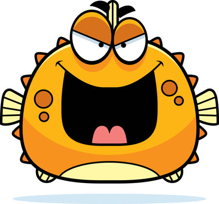 pufferfish: A cartoon illustration of an evil looking blowfish.