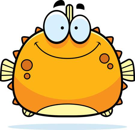 pez globo: Una ilustración de dibujos animados de un pez globo sonriendo.