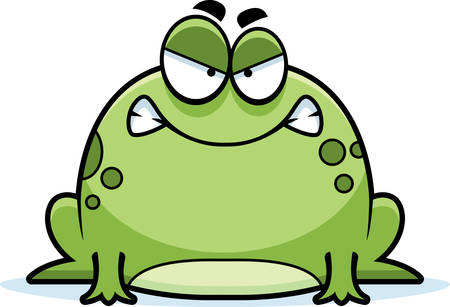 A cartoon illustration of a frog looking angry. Ilustração