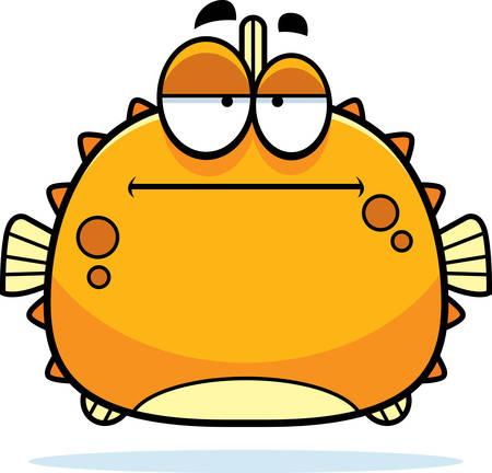 pez globo: Una ilustración de dibujos animados de un pez globo que parece aburrida.