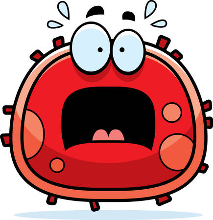 animal blood: A cartoon illustration of a red blood cell looking scared.