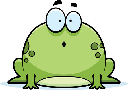 A cartoon illustration of a frog looking surprised.