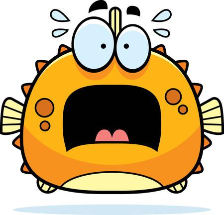 pez globo: Una ilustraci�n de dibujos animados de un pez globo que parece asustada. Vectores