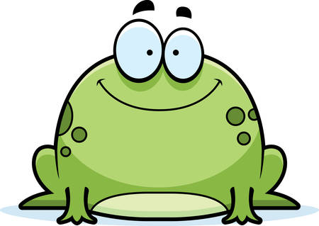 A cartoon illustration of a frog smiling.