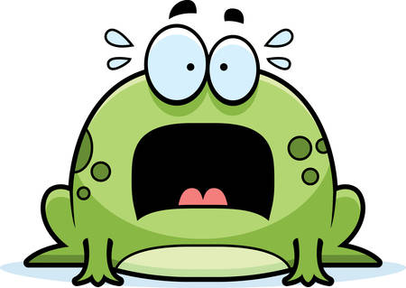 frighten: A cartoon illustration of a frog looking scared.
