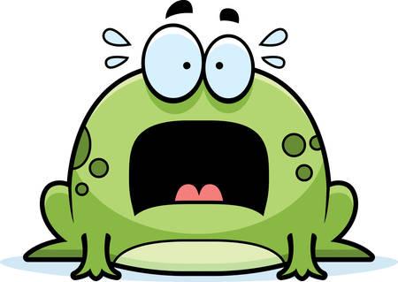 rana: Un ejemplo de la historieta de una rana mirando asustado. Vectores