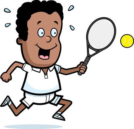 Een cartoon illustratie van een kind het spelen tennis.