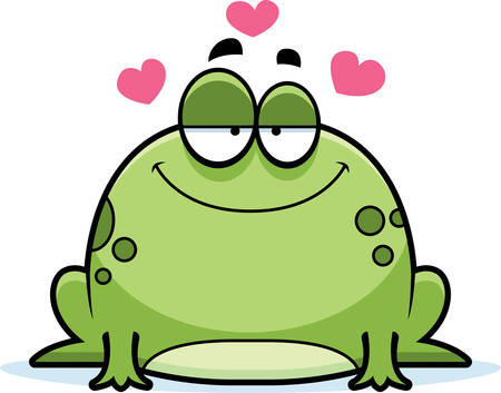 frog in love: A cartoon illustration of a frog in love.