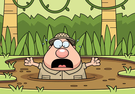 Een cartoonillustratie van een ontdekkingsreiziger die in drijfzand wordt opgesloten.