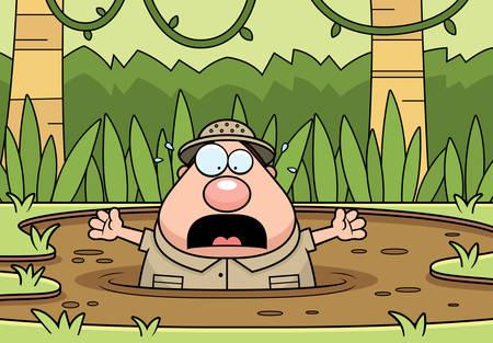 arenas movedizas: Una ilustraci�n de dibujos animados de un explorador atrapado en arenas movedizas.
